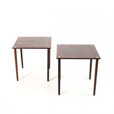 Pair of Mid Century Danish Side Tables in Rosewood & Brass, 1950s