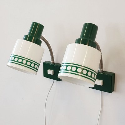Set of 2 green & white wall lamps, 1970s