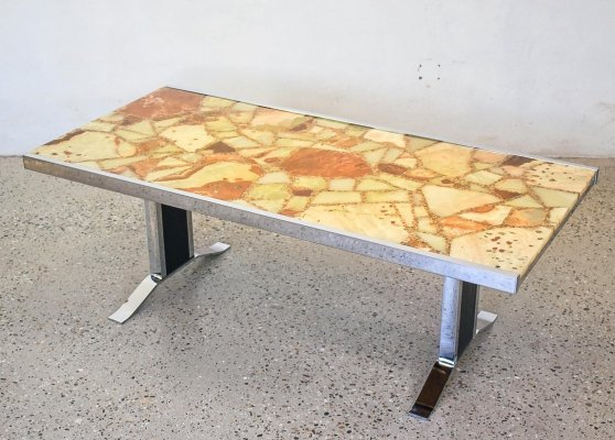 Italian Onyx & Epoxy coffee table, 1970s