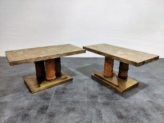 Unique brutalist brass coffee tables / side tables, 1970s