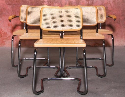 Set of 5 Chrome Metal & Cane Webbing Dining Chairs