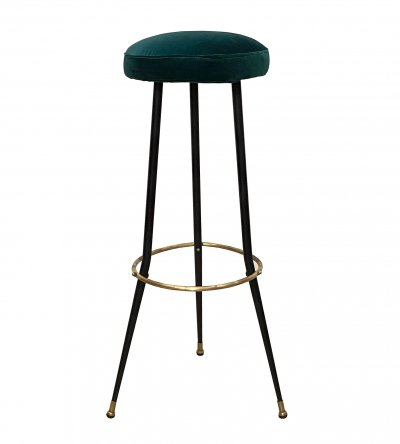 1950's Black Laquered Metal & Brass Stool with green velvet seat