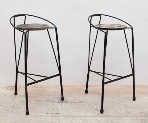 Pair of Wrought Iron Bar Stools, Belgium 1960s