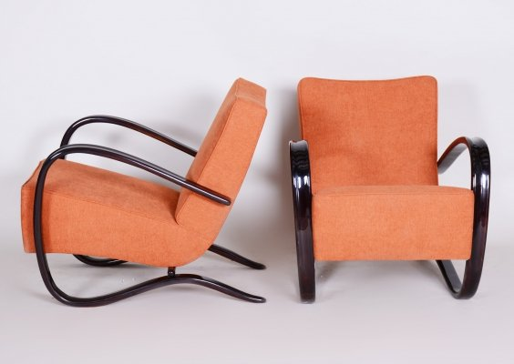 Pair of Art Deco Beech H-269 Armchairs by Jindrich Halabala, Czechoslovakia 1930s