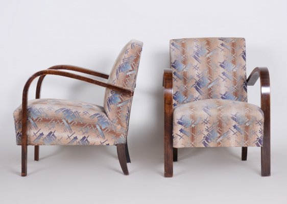 Pair of Art Deco Beech Armchairs, Czechia 1920s