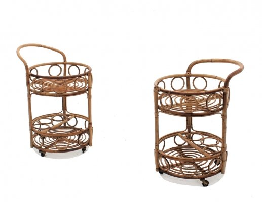 Pair of Vintage bamboo rattan serving trolleys, 1950s