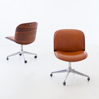 Rosewood & cognac leather swivel chair by Ico Parisi for MiM Roma, 1950s