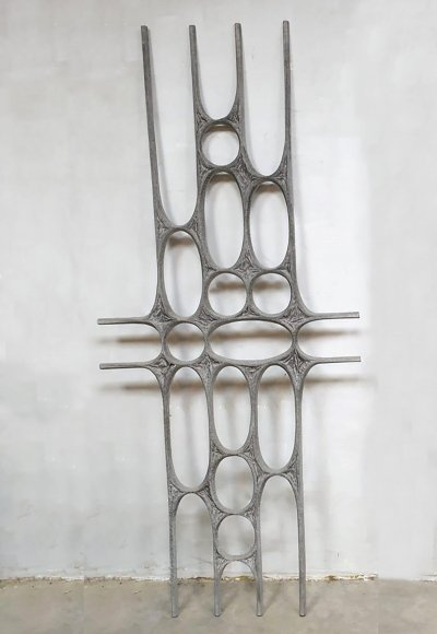 Vintage metal wall art sculpture, 1960s