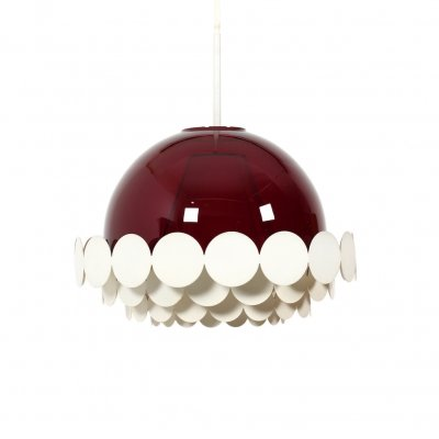 1960s Doria Pendant Light with Burgundy-Red Glass Lampshade