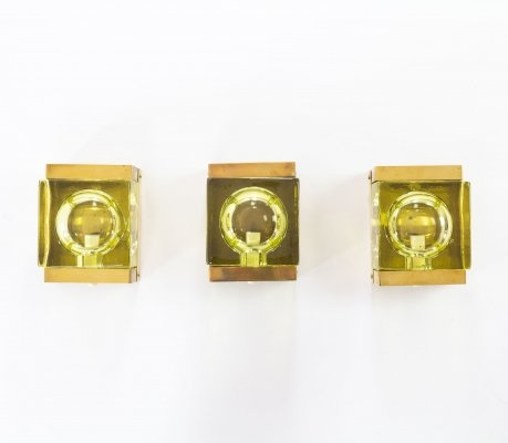 Set of 3 of Greenish Maritim glass & brass Wall lamps by Vitrika