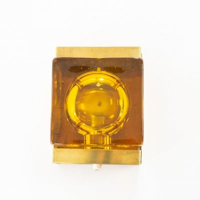 Amber coloured Maritim glass & brass Wall lamp by Vitrika