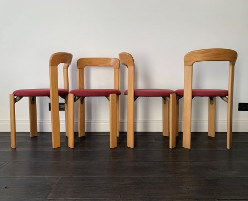 Set of 4 Bruno Rey chairs for Kusch&Co in beech wood with red cushions