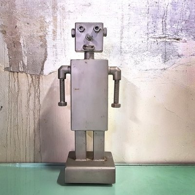 Robot Sculpture in metal, 1980s