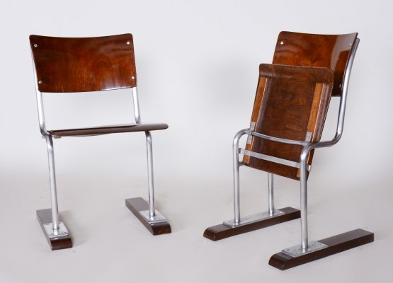 Pair of Unusual Beech & Chrome Bauhaus Folding Chairs, Germany 1920s