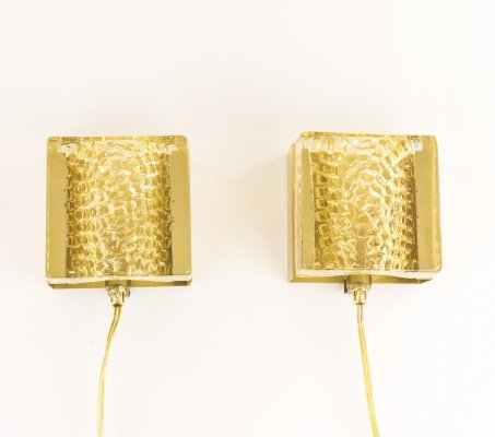 Pair of Kalmar glass & brass Wall lamps in gold by Vitrika