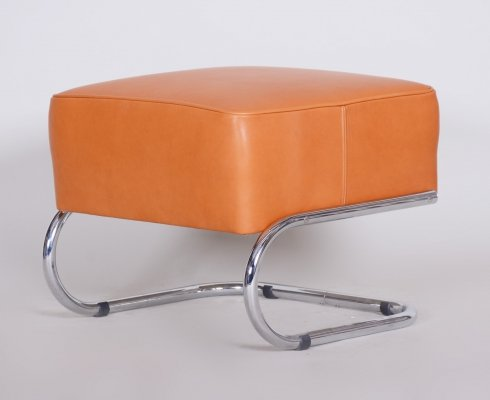 Modernist Tubular Stool by Slezák in Orange Leather & Chrome-plated steel, 1930s