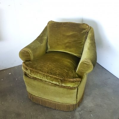 Vintage velours club chair, 1930s