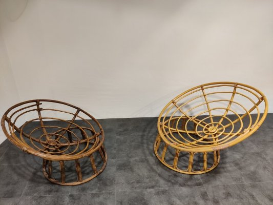 Pair of large vintage rattan chairs, 1970s