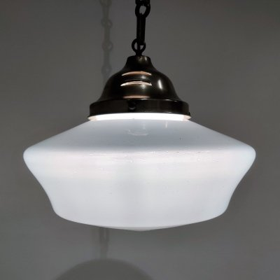 Conical opaline pendant lights, 1930s