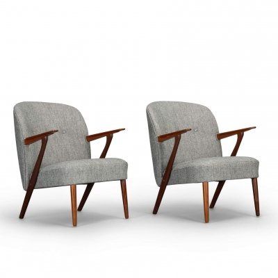 Pair of Danish midcentury modern grey vintage armchairs by Kurt Olsen for Slagelse Møbelværk, 1960s