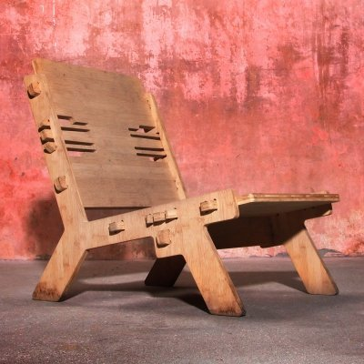Bamboo Wooden Lounge Chair, 1990s