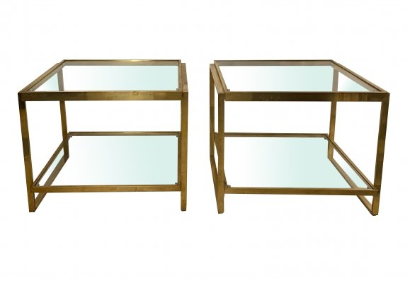 1970's Pair of Brass Side Tables with Glass Tops