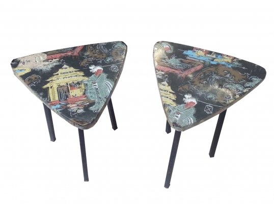 Pair of Triangular Stools with Seat Decorated with Oriental Motifs, 1960s