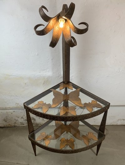 Folk Art Corner table with glass shelves & a tall Flower Light, 1950s