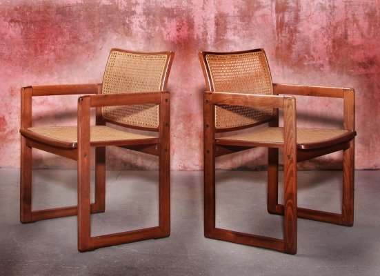 Set of Cane Webbing & Beech Wood Armchairs, 1970s