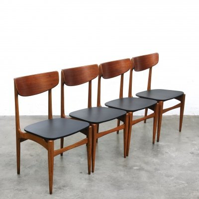 Set of 4 Teak Wood Scandinavian dining Chairs, 1950s