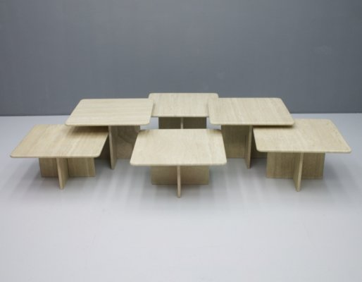Set of Six Travertine Side or Coffee tables, 1970s