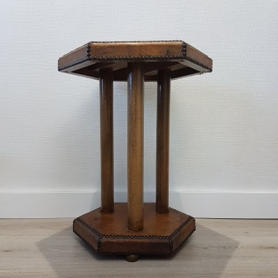 Scandinavian Bopoint side table in patinated leather by Otto Schulz for Boet, 1930s