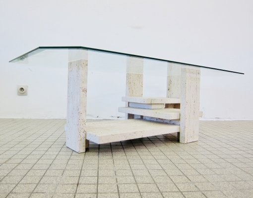 Sculptural travertine coffee table by Willy Ballez, 1970s