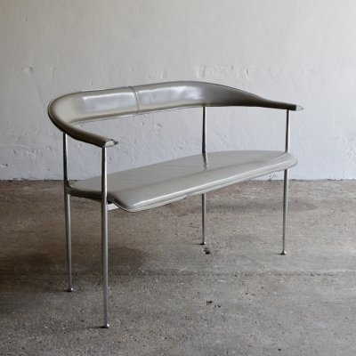 1980's Giancarlo Vegni Leather Bench for Fasem
