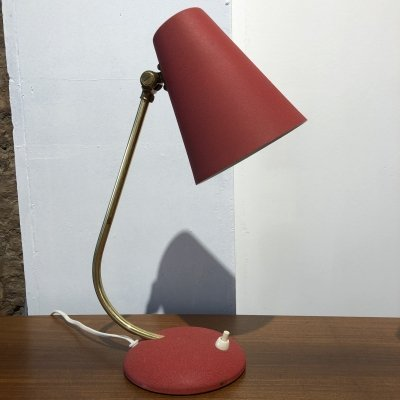 Red Mid-Century Desk Lamp by EWA Värnamo, 1950s