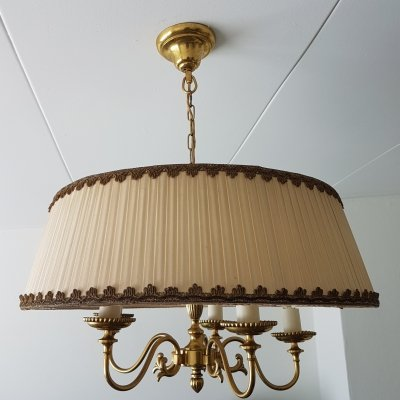 Brass 5-arm chandelier with a large nylon fabric shade, 1950s