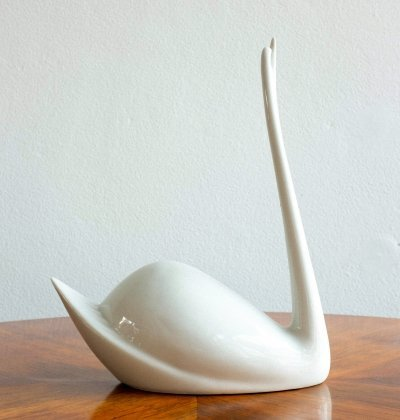 Porcelain Swan by Jaroslav Ježek for Royal Dux, 1960s