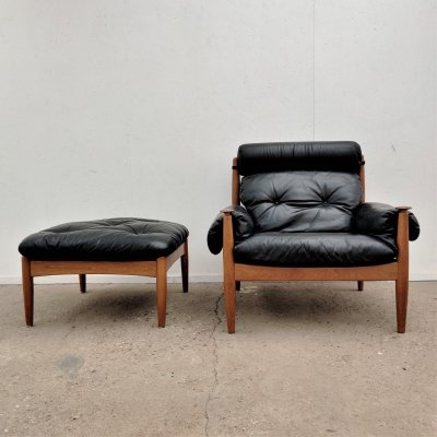 Vintage lounge chair with hocker by Eric Merthen, 1960s