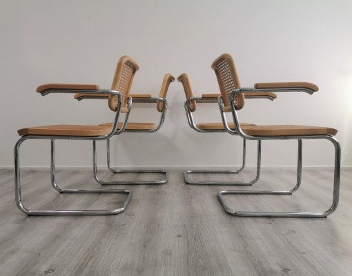 Set of 4 Thonet S64 Cantilever Dining Chairs by Marcel Breuer