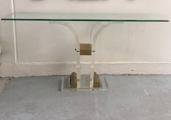 Lucite wall table with brass & glass top
