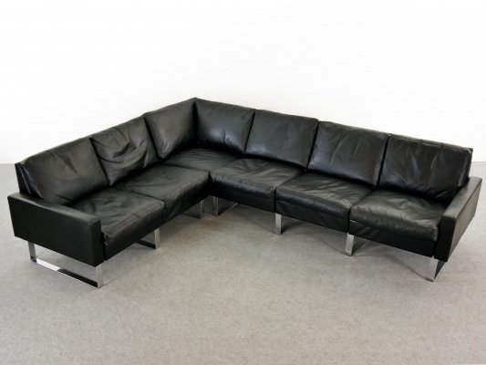 Sectional Modular Black Leather Conseta Sofa on Runners by COR, Germany 1980s