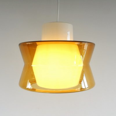 Vintage glass pendant lamp in white milk glass & clear yellow glass