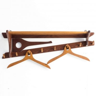 70s teak wall mounted coat rack for Electrimeufa