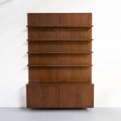 Pair of Dark wood Swiss storage cabinets / wall units, 1970s