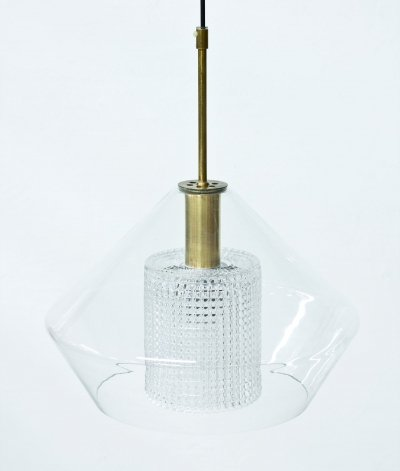 Glass & Brass Pendant Lamp by Carl Fagerlund for Orrefors, Sweden 1960s