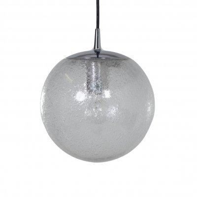 Glass Hanging Lamp with Bubble Glass by Peill & Putzler, 1970s