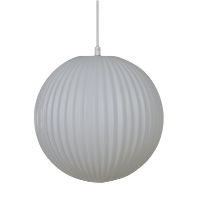 Ribbed Glass Pendant in White by Philips, 1950s