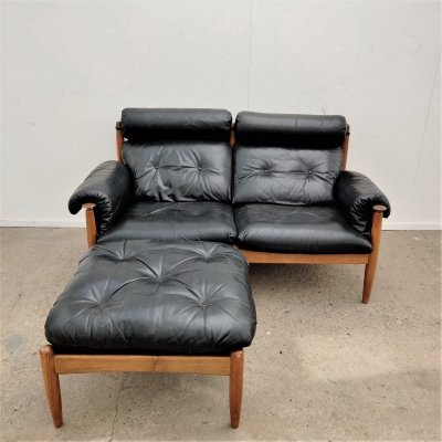 Vintage two-seater with footstool by Eric Merthen, 1960s