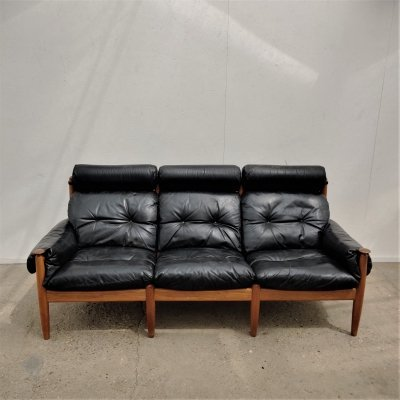 Vintage black leather three-seater sofa by Eric Merthen, 1960s