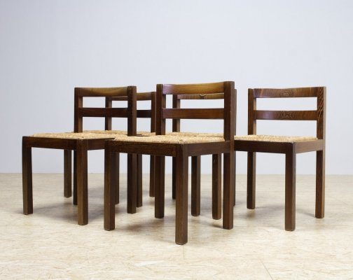 Set of 5 Modernist Dining Room Chairs in Wengé & rush, 1960s